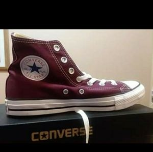 Maroon/ Red Converse High Top Sneakers